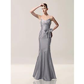 2010 style Trumpet/ Mermaid Spaghetti Straps Sleeveless Floor-length Taffeta Evening Dress (FSM0486)