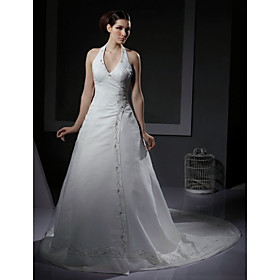 A-line Halter Chapel Train Satin Wedding Dresses for Bride (YCF102)