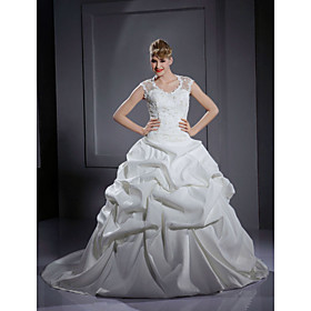 Ball Gown Sweep / Brush Train Satin  Lace Wedding Dress (WSW0139)