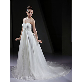 A-line Strapless Court Train Satin Tulle Wedding Dress (WSW0141)