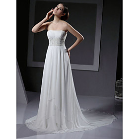 Empire Strapless Cathedral Train Chiffon Elastic Silk-like Satin Wedding Dresses / Reception Dress  (HSX227)