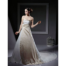 A-line Strapless Chapel Train Satin Wedding Dresses for Bride (YCF096)
