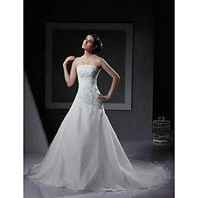 A-line Strapless Court Train Satin Tulle  Wedding Dresses for Bride (HSX229)