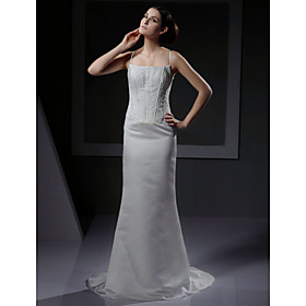 Mermaid Chapel Train Satin Lace  Wedding Dresses for Bride (YCF148)