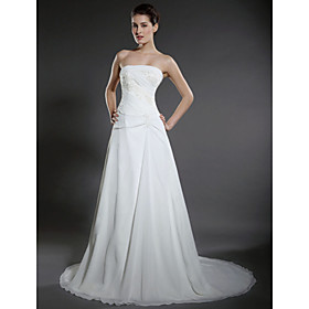 A-line Strapless Chapel Train Satin Chiffon Wedding Dresses for Bride HSX030