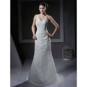 Empire V-neck Court Train Satin Wedding Dresses for Bride / Reception Dress (HSX004)