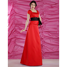 2010 Style  A-line Square  Floor-length T-shirt Short  Satin Mother of the Bride Dress (FSM0696)
