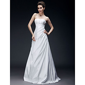 A-line Sweetheart Floor-length Sleeveless Wedding Dresses for Bride 2009 Style (WSW0015)