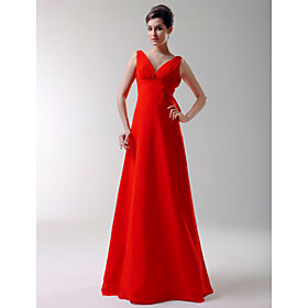 A-Line V-neck Floor-length Elastic Silk-like Satin Bridesmaid/ Wedding Party Dress (HSX162)