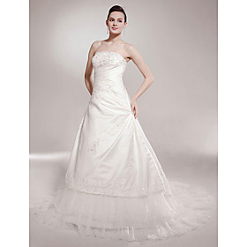 A-line Strapless Chapel Train Sleeveless Satin Luxury  Wedding Dress (WSW0562)