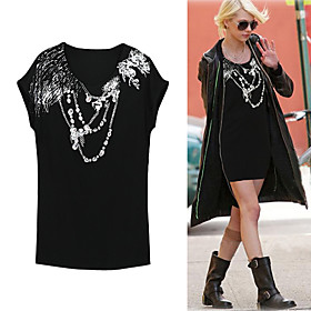 GOSSIP GIRL TAYLOR MOMSEN Style / 100% Cotton / Beaded Printed Short Sleeves Loose Shape Longline T-shirt / Women's T-shirts (FF-8502BD003-0857)