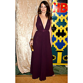 Kristin Davis A-line V-neck Floor-length Sleeveless Chiffon/ Elastic satin Sex and the City Dress (FSL0778)