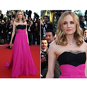 Diane Kruger Empire Sweetheart Sweep/ Brush Train Sleeveless Chiffon/ Lace Cannes Film Festival/ Cocktail Dress (FSL0822)