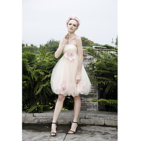 A-line Strapless Short/ Mini Sleeveless Tulle Quick Delivery Dr