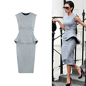 VICTORIA BECKHAM / LEIGHTON MEESTER Style / Supreme Shoulder Ruffles Fit Dress / Women's Dresses (FF-1802BF119-0853)