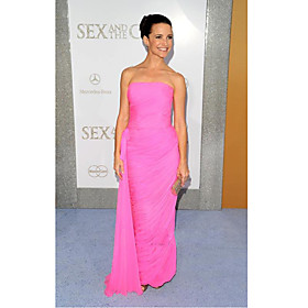 Kristin Davis Sheath/ Column Strapless Floor-length Sleeveless Chiffon/ Elastic Satin Sex and the City/ Evening Dress (FSL0843)