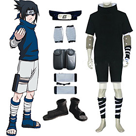 Naruto Sasuke Uchiha Black Men's Cosplay Costume And Accessories Set Picture