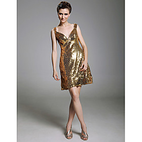 A - line V - neck  Short/ Mini  Sleeveless Sequined Fabric Cocktail Dresses(WSM04193)