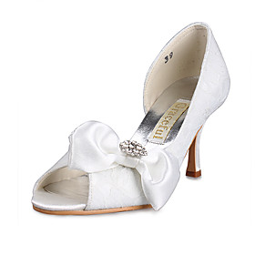 Top Quality Lace/ Satin Upper High Heels Peep-toes With Bowknot Wedding Shoes/Bridal Shoes  (0984-R-042)