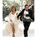 Jennifer Aniston Marley and Me Ball Gown Scoop Asymetrical Satin Organza Celebrity Wedding Dress (WSM0365)