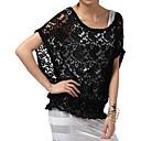 Lightinthebox ES  piecred mangas murciélago corto de encaje redonda blusa de escote amplio y / blusas de las mujeres (ff-4202bg003-0736)
