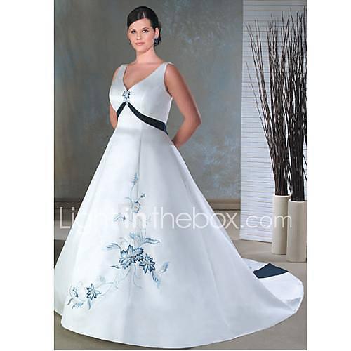 ...вырезом Часовня поезд атласные платья плюс размер свадьбы невеста x083