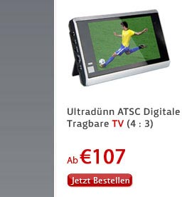 Ultradünn ATSC Digitale Tragbare TV (4 : 3)