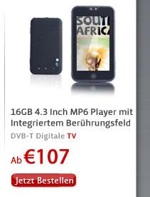 16GB 4.3 Inch MP6 Player mit Integriertem Berührungsfeld