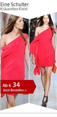 Eine Schulter Kräuseltes Kleid