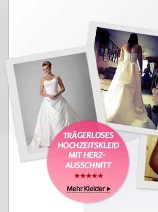 Trägerloses Hochzeitskleid mit Herz-Ausschnitt